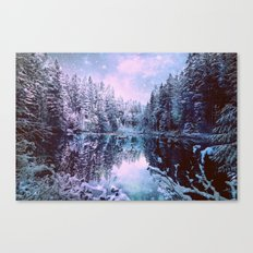 Lavender Blue Winter Wonderland Forest Canvas Print