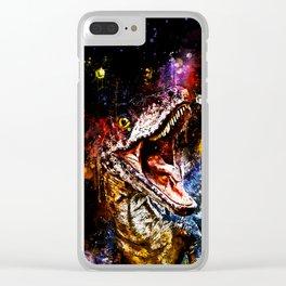 velociraptor dinosaur close up wsstd Clear iPhone Case