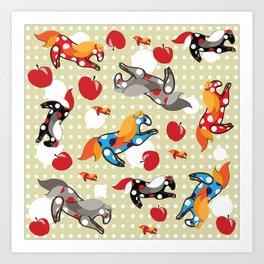 Паттерн с лошадками Art Print
