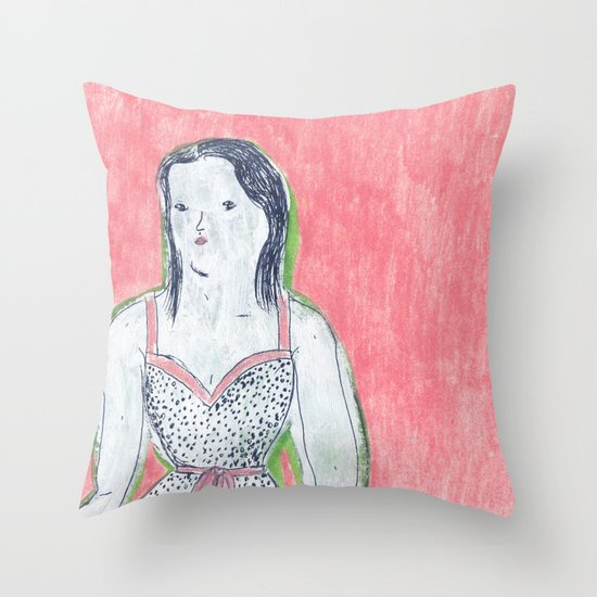 the girl is waiting Throw Pillow