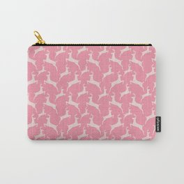 Pink Jumping Christmas Deer Pattern Carry-All Pouch