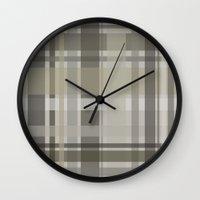 plaid Wall Clocks featuring Plaid by GoAti
