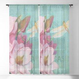 Verdigris Pink Magnolias Sheer Curtain