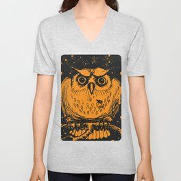 Spooky Orange Halloween Owl Unisex V-Neck