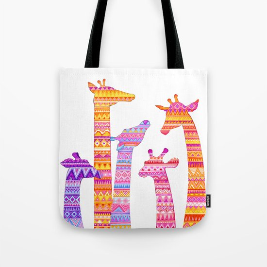 Giraffe Silhouettes in Colorful Tribal Print Tote Bag
