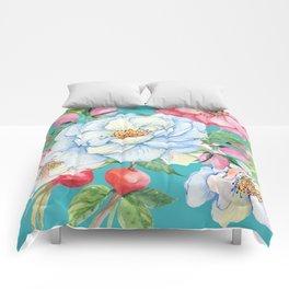 Elegant, Chic Floral Print on Eggshell Blue Comforters