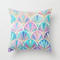 deco Throw Pillows featuring Glamorous Twenties Art Deco Pastel Pattern by micklyn