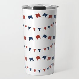 Summer Fun Flag Illustration in Red, White, and Blue Travel Mug
