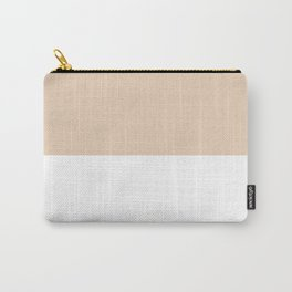 White and Pastel Brown Horizontal Halves Carry-All Pouch
