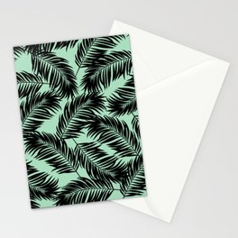 Palm Frond Tropical Décor Leaf Pattern Black on Mint Green Stationery Cards