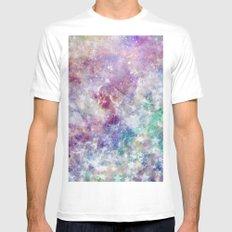 Rainbow Stars Space Galaxy Pattern Mens Fitted Tee White MEDIUM