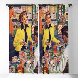 Retro - Vintage -  Woman -  Shopping -  Groceries -  Store - Vintage illustration. Retro décor. Blackout Curtain