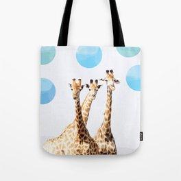 Giraffe with sky polka dots #society6 Tote Bag