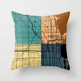 Chicago Illinois Colorful Street Map Throw Pillow