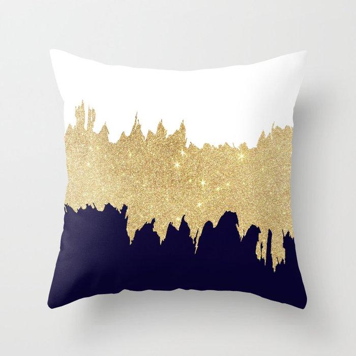 Modern navy blue white faux gold glitter brushstrokes Deko-Kissen