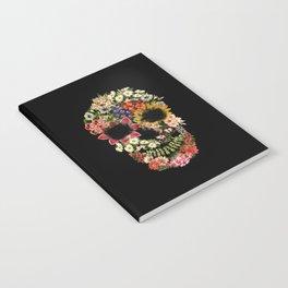 Floral Skull Vintage Black Notebook