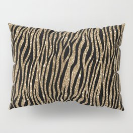 Black & Gold Glitter Animal Print Pillow Sham