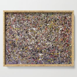 Intergalactic - Jackson Pollock style abstract painting by Rasko Serving Tray