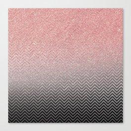 Blush chic pink  silver faux glitter geometrical Canvas Print