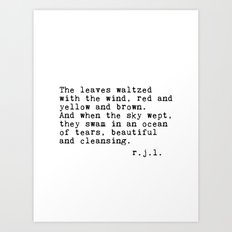 Typewriter Thoughts #3 - The Leaves Art Print