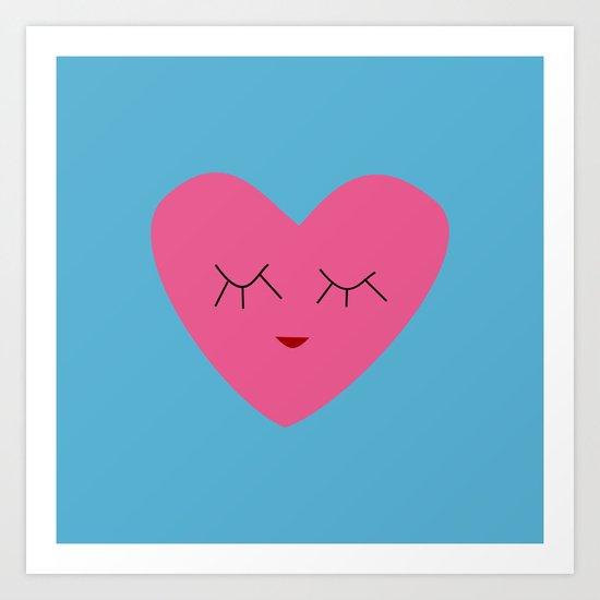 valentines heart blue Art Print