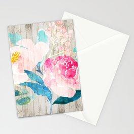 Custom Boho Watercolor Wood Pattern Stationery Cards