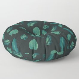 Tropical Jungle Night Leaf Pattern #1 #tropical #decor #art #society6 Floor Pillow