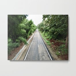 A drone shot of a straight road in the country side of the Northern Thailand Metal Print
