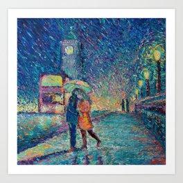 Lovers in Rainy London - romantic city landscape for Valentines day by Adriana Dziuba Art Print