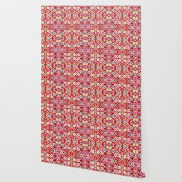 Crimson Floral Chirimen Wallpaper