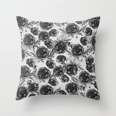 Abstract Poppy Pattern Black And White Throw Pillow