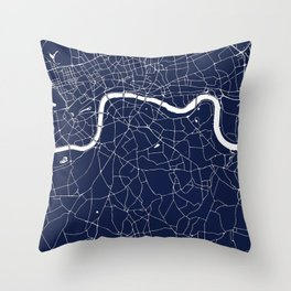 Navy on White London Street Map Throw Pillow