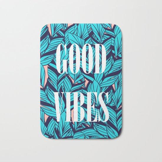 Good Vibes Blue Leaves Bath Mat