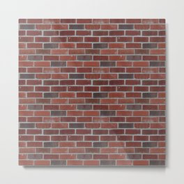 Brick Wall with Mortar - Red White Metal Print