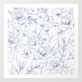 Modern hand drawn navy blue white elegant floral pattern Art Print