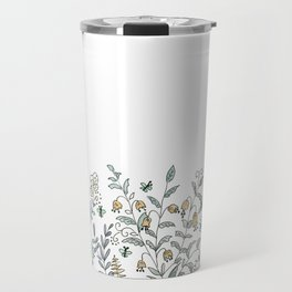 Watercolor pattern . The flowers of the field . 2 Travel Mug