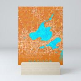 Madison, WI, USA, Gold, Blue, City, Map Mini Art Print