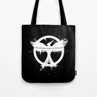 mockingjay Tote Bags featuring MOCKINGJAY by Beka