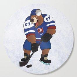 Ice hockey bear mascot Cutting Board
