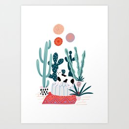 Cat and cacti Art Print