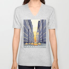 NYC, yellow cabs Unisex V-Neck