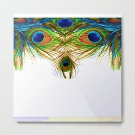 GORGEOUS BLUE-GREEN PEACOCK FEATHERS ART Metal Print