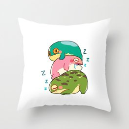 Toad frog Lurch lazy tired sleep gift Throw Pillow