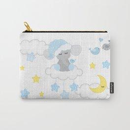 Blue Elephant Moon Stars Carry-All Pouch