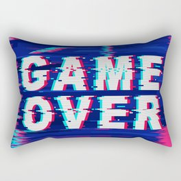 Game Over Glitch Text Distorted Rectangular Pillow