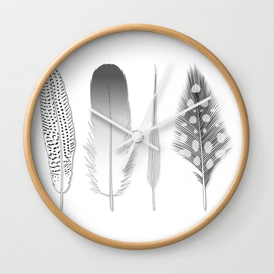 Feathers Trio Wall Clock
