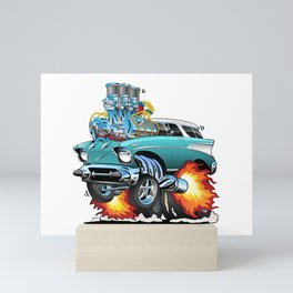 Classic Fifties Hot Rod Muscle Car Cartoon Mini Art Print