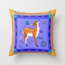 Woodland Bohemian Baby Deer, Forest Animal, Woodland Creatures Throw Pillow