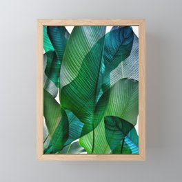 Palm leaf jungle Bali banana palm frond greens Framed Mini Art Print