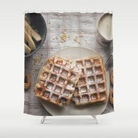 breakfast Shower Curtains featuring breakfast by LainPhotography